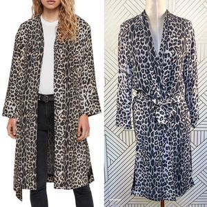 AllSaints Esme Leopard Printed Long Sleeve Kimono